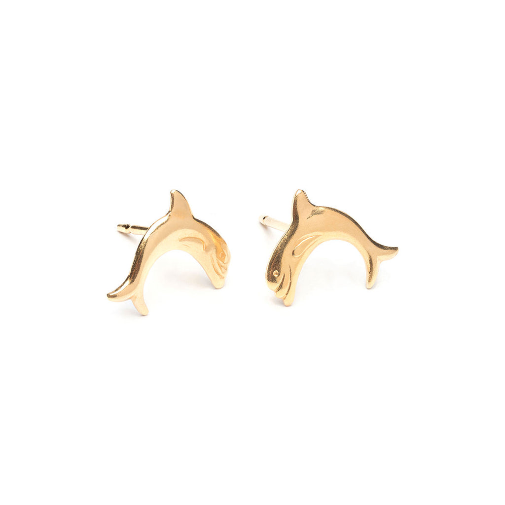 Gold Plated Dolphin Stud Earrings - Simply Whispers