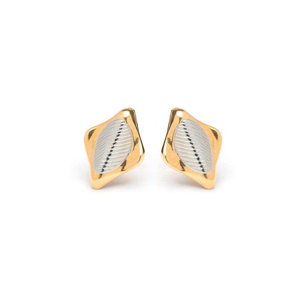 Gold Plated And Silver Plated Rhombus Shaped Stud Earrings - Simply Whispers