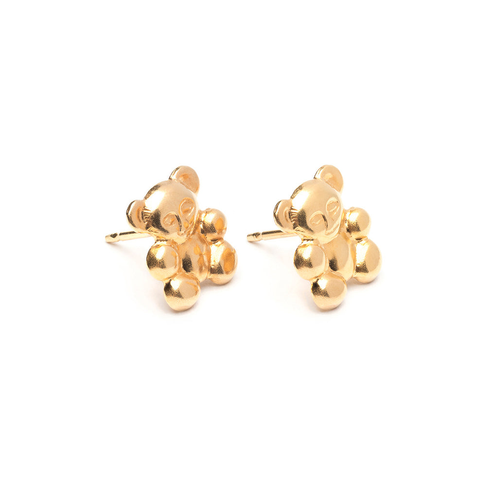 Gold Plated Teddy Bear Stud Earrings - Simply Whispers