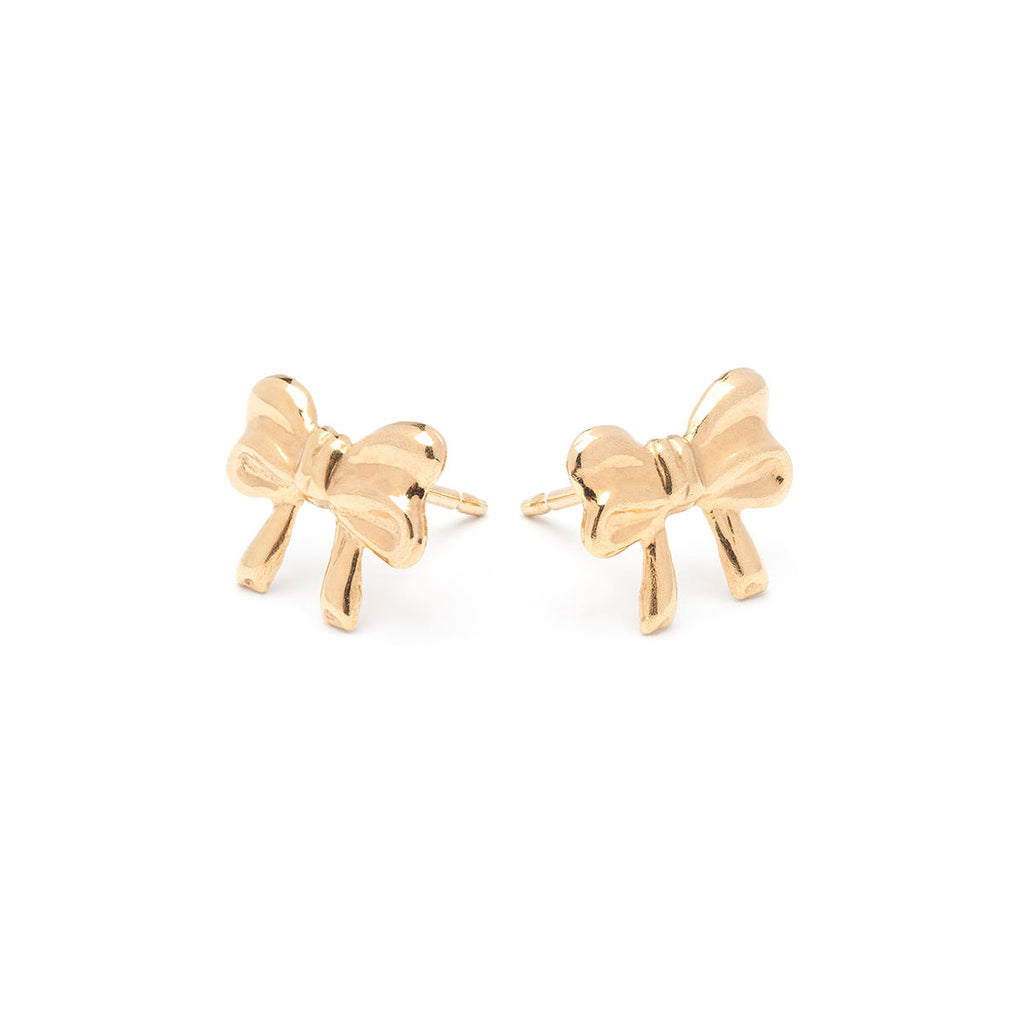 Gold Plated Bow Stud Earrings - Simply Whispers