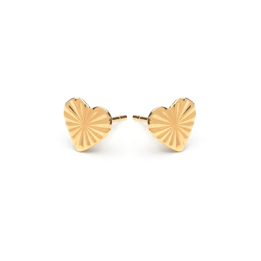 Gold Plated Heart Diamond Cut Stud Earrings - Simply Whispers