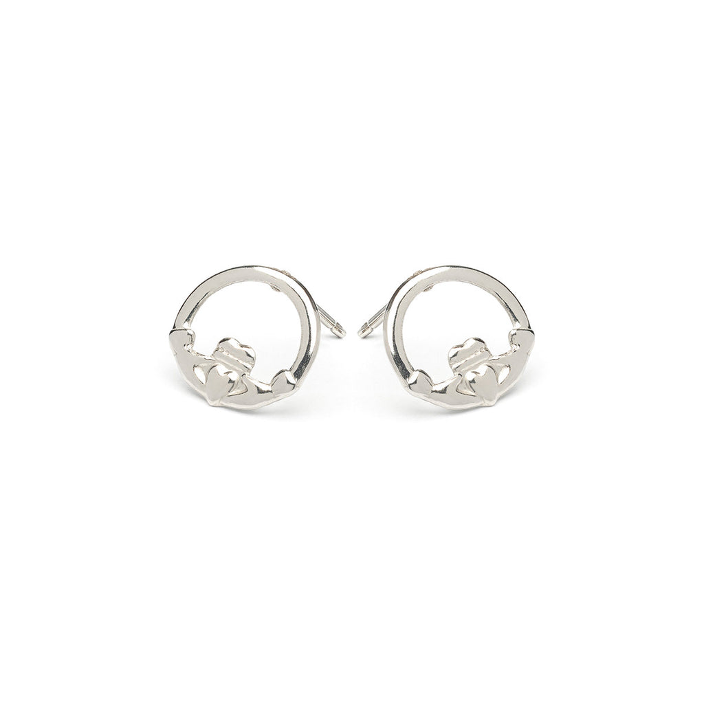 Stainless Steel Claddagh Stud Earrings - Simply Whispers