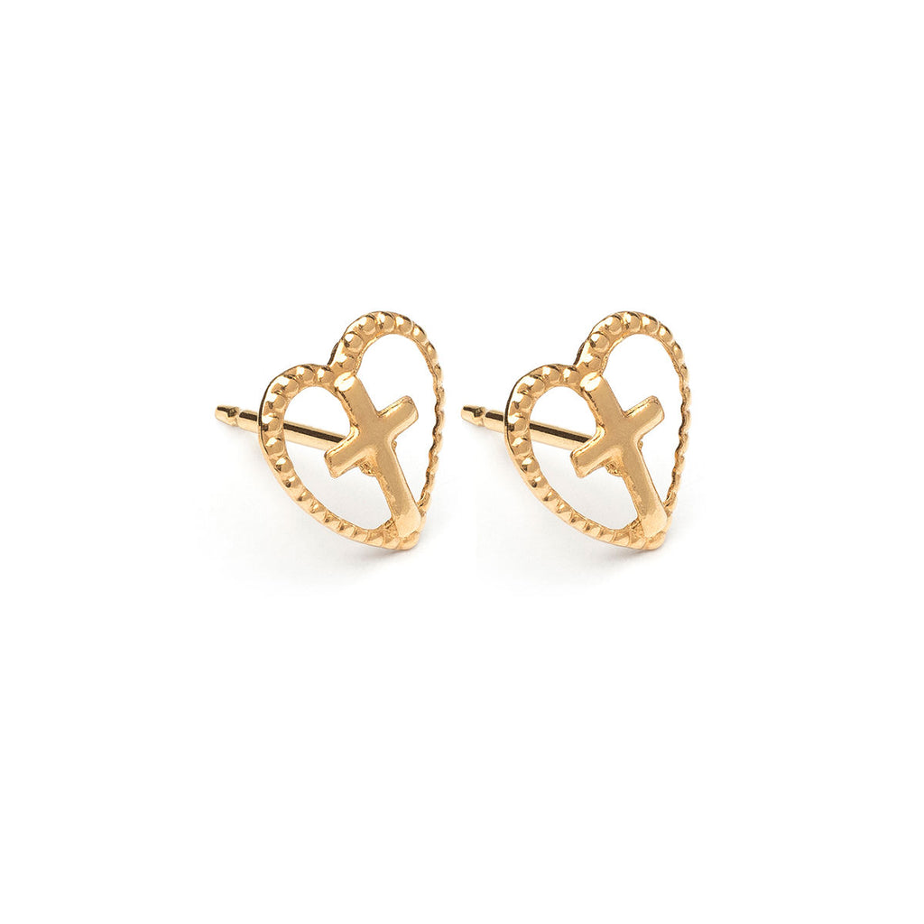 Gold Plated Open Heart With Cross Stud Earrings - Simply Whispers