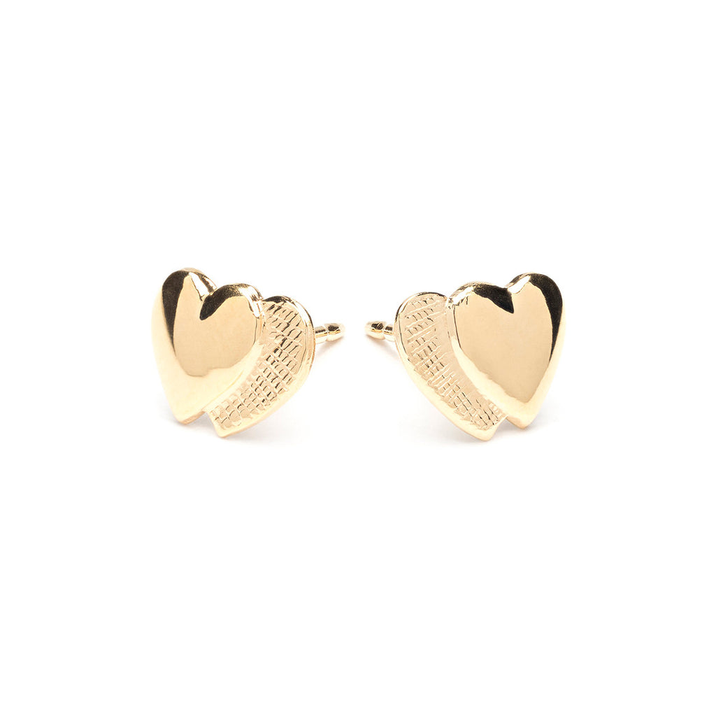 Gold Plated Double Hearts Stud Earrings - Simply Whispers