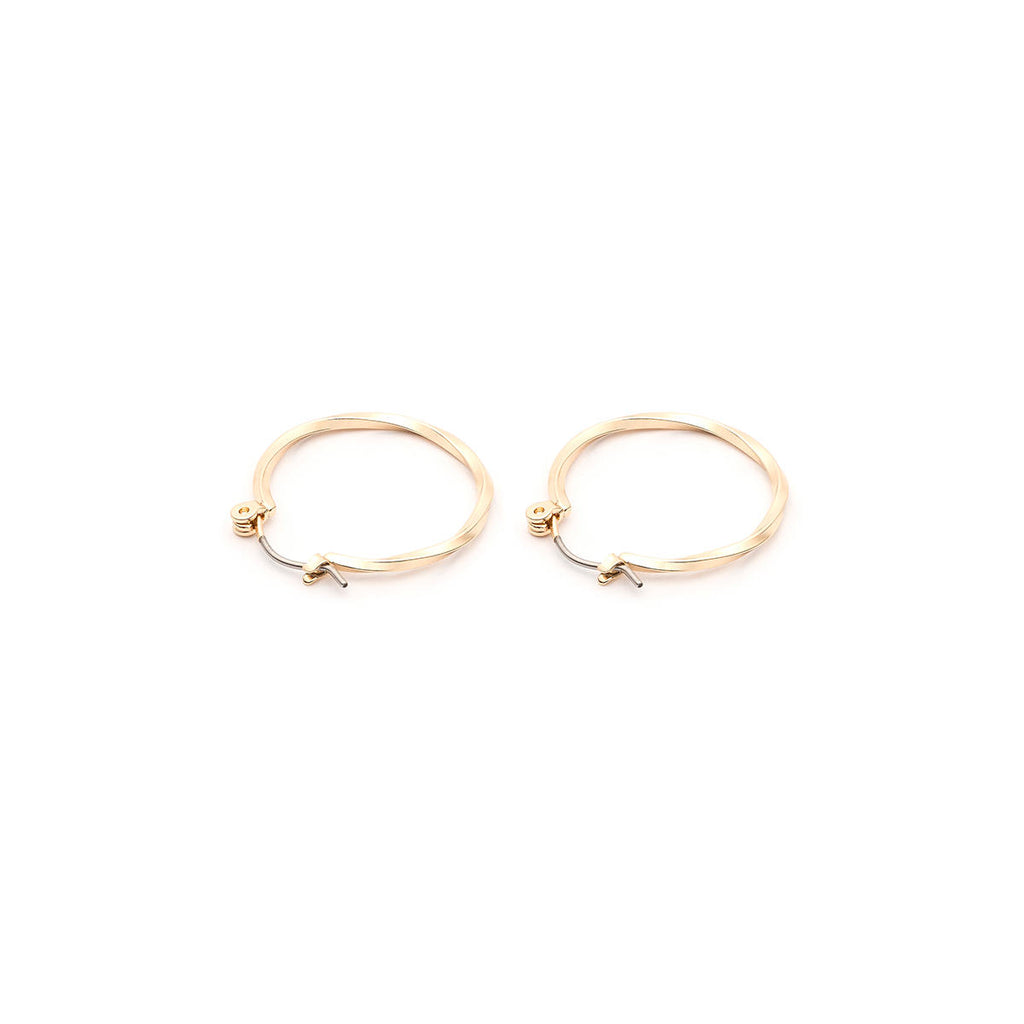Gold Plated Twisted Joint And Catch Hoop Earrings - Simply Whispers