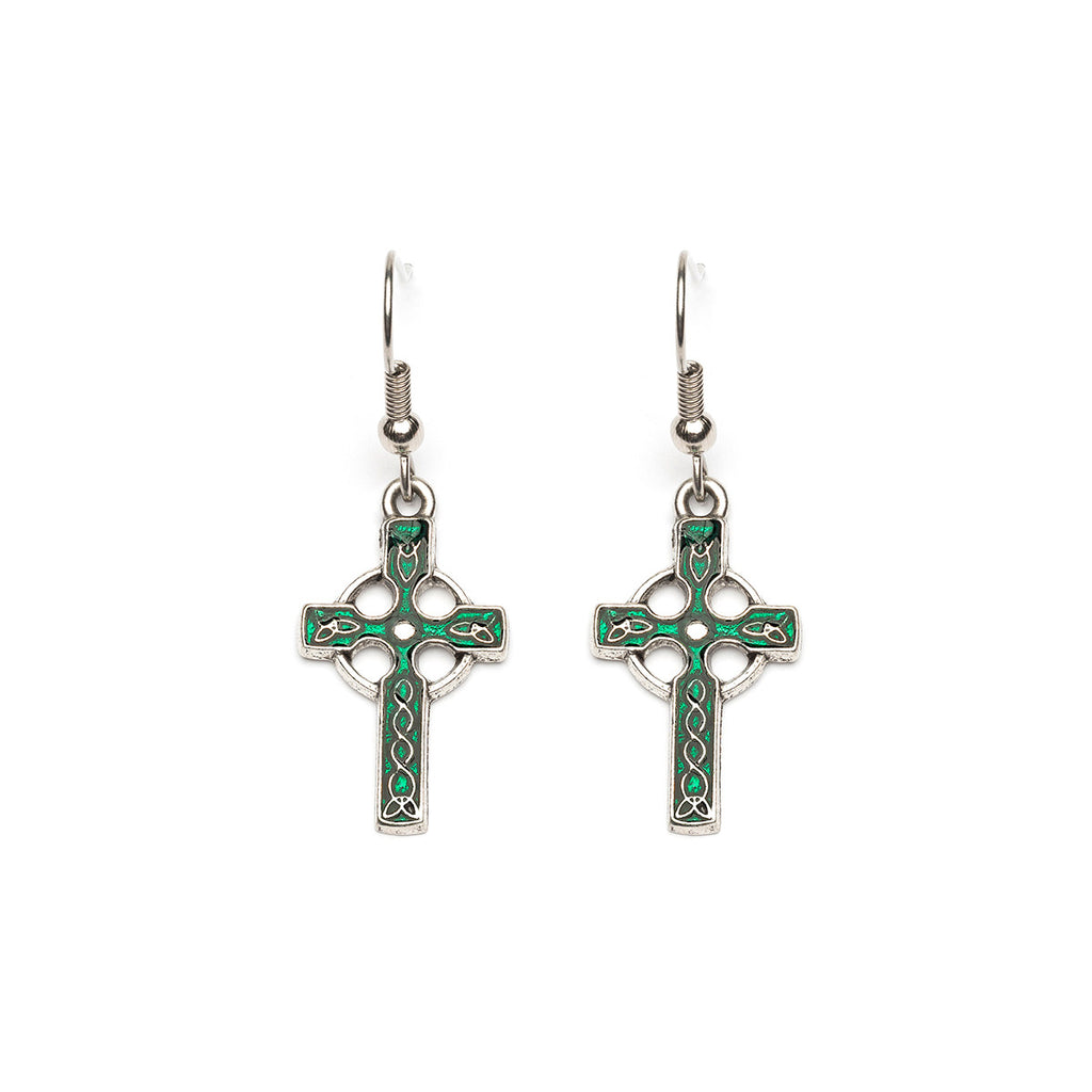 Antique Silver Plated Green Celtic Cross French Hook Earrings - Simply Whispers