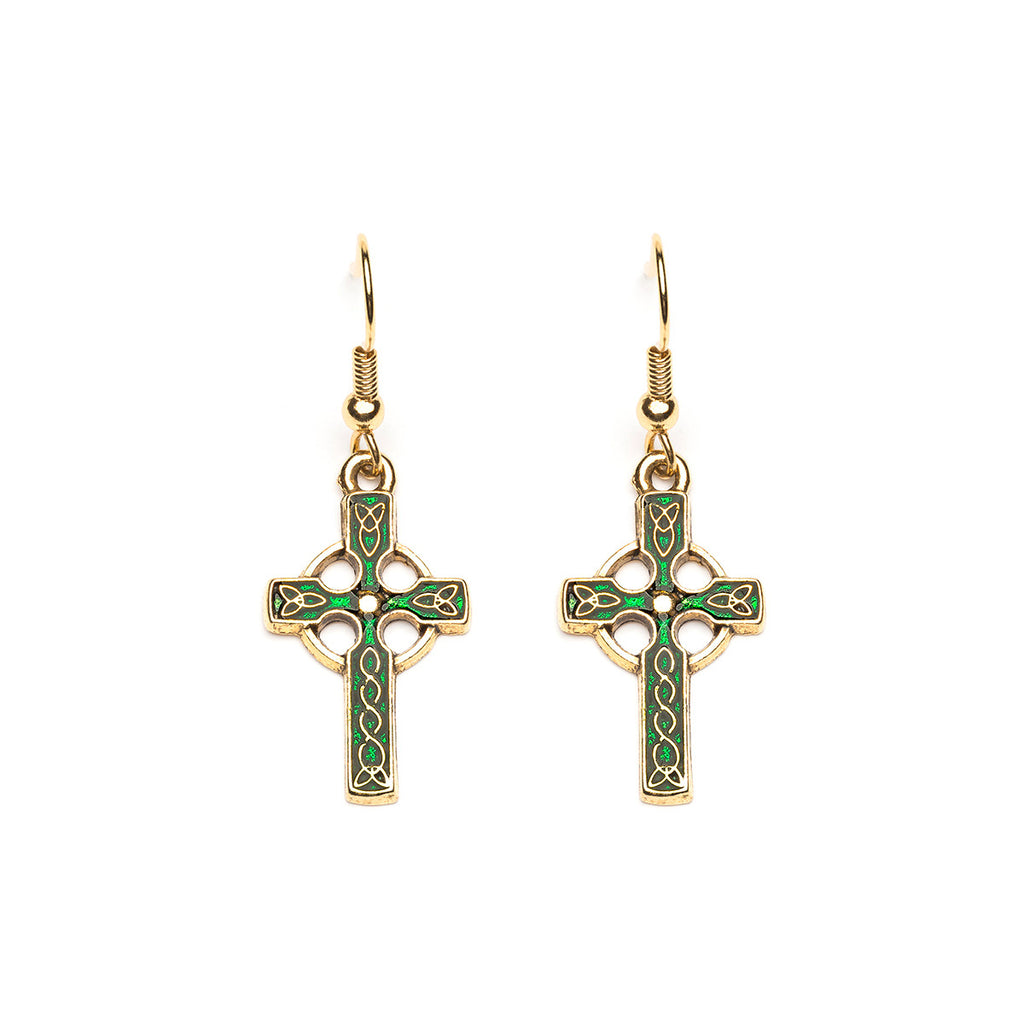 Antique Gold Plated Green Celtic Cross French Hook Earrings - Simply Whispers