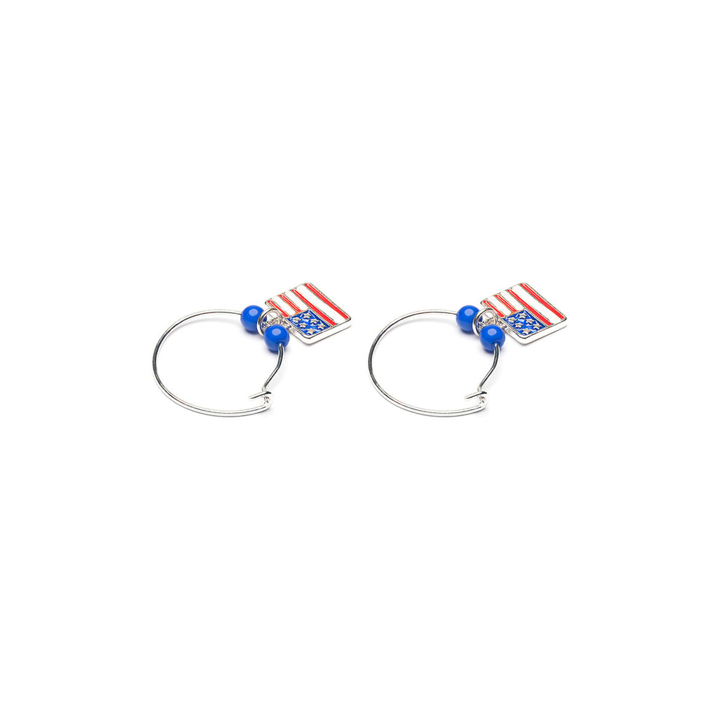 Silver Plated Rippled Usa Flag Continuous Hoop Earrings - Simply Whispers
