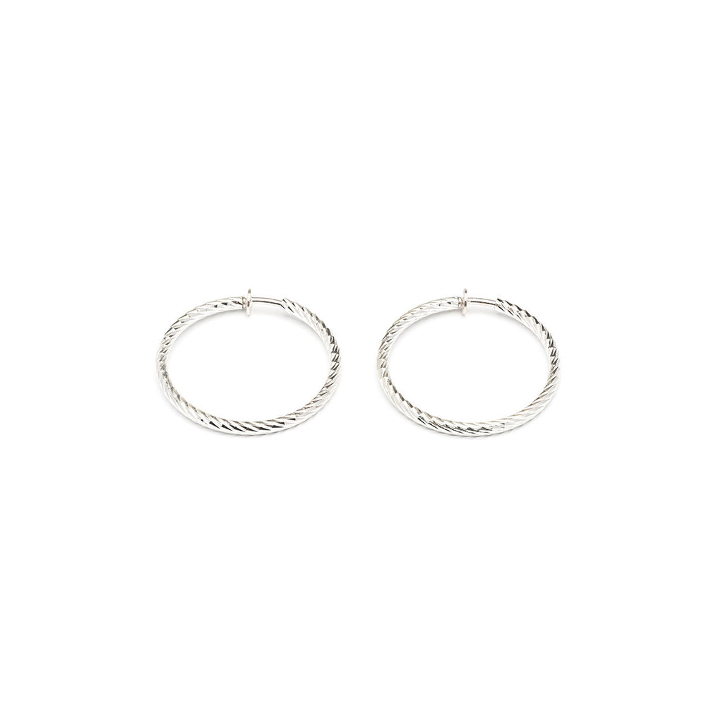 Silver Plated 1.5 inch Diamond Cut Spring Clip On Hoop Earrings - Simply Whispers