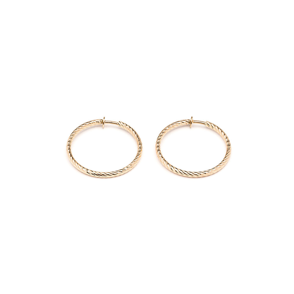 Gold Plated 1.5 inch Diamond Cut Spring Clip On Hoop Earrings - Simply Whispers
