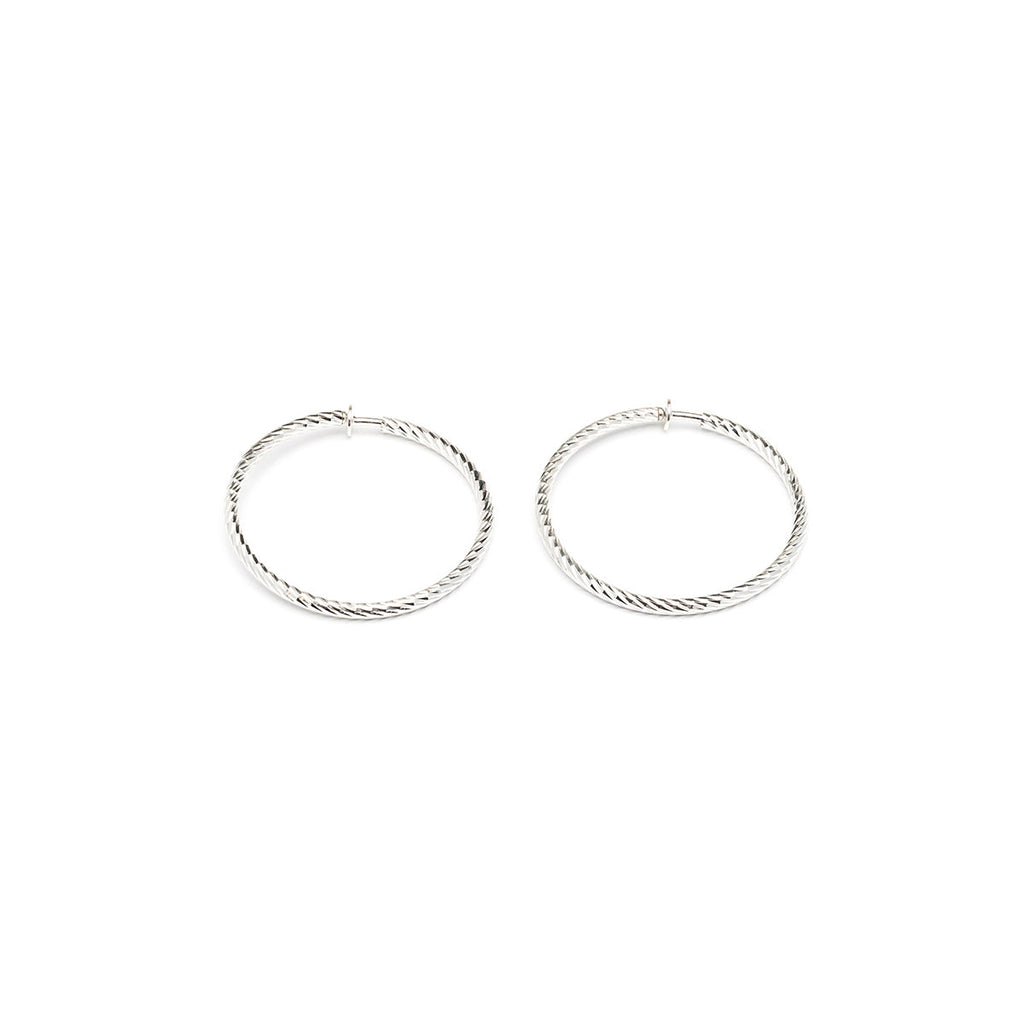 Silver Plated 2 inch Diamond Cut Spring Clip On Hoop Earrings - Simply Whispers