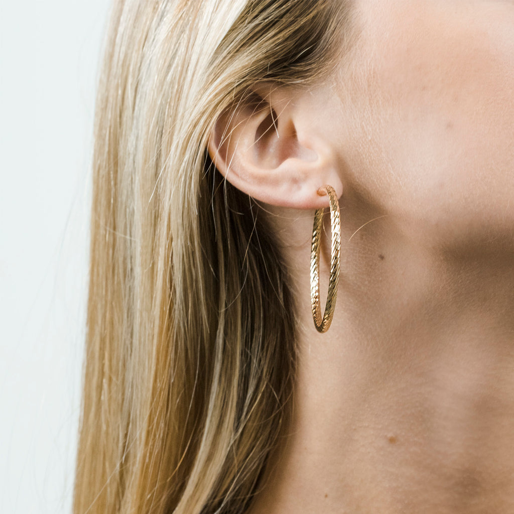 Gold Plated 2 inch Diamond Cut Spring Clip On Hoop Earrings - Simply Whispers