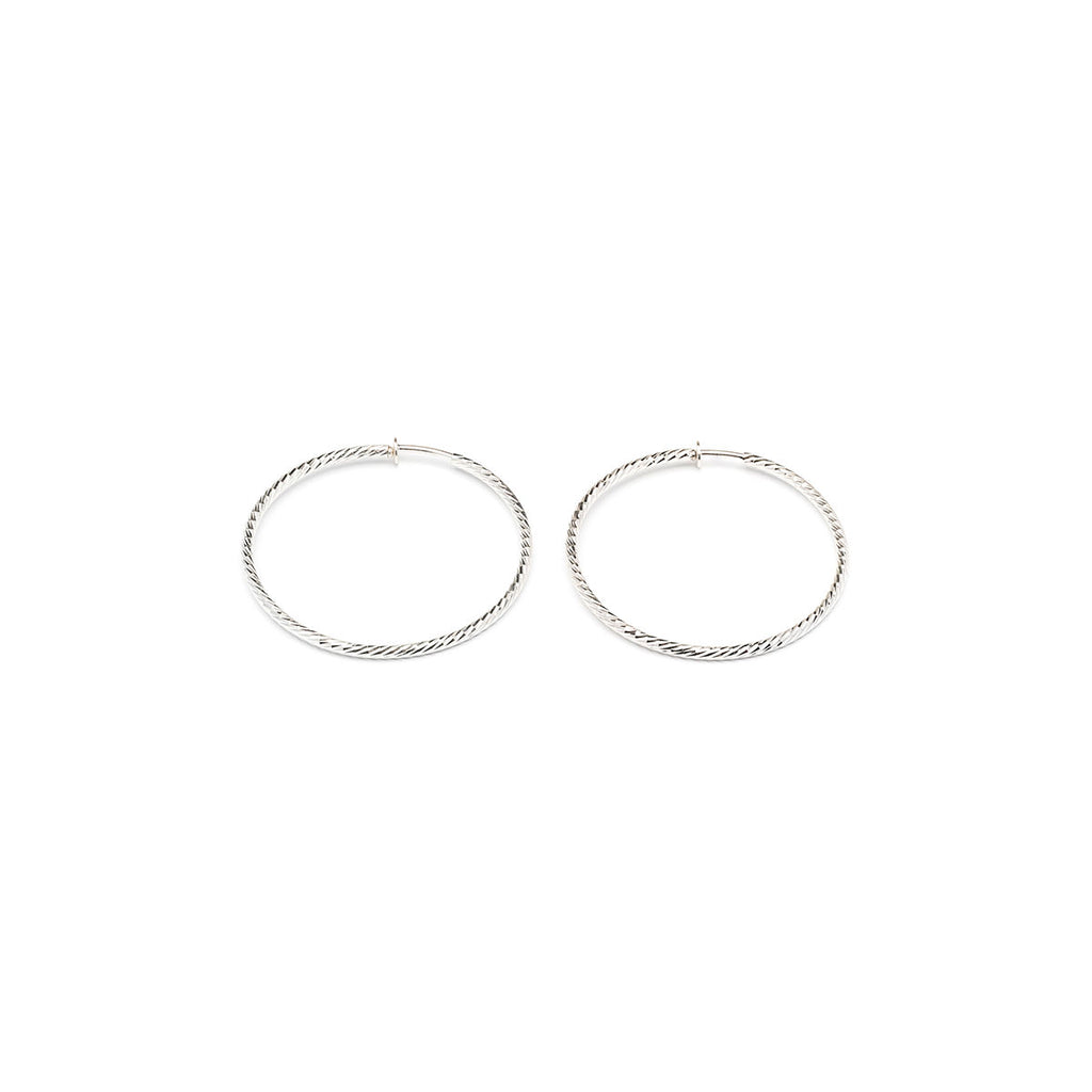 Silver Plated 2.5 inch Diamond Cut Spring Clip On Hoop Earrings - Simply Whispers