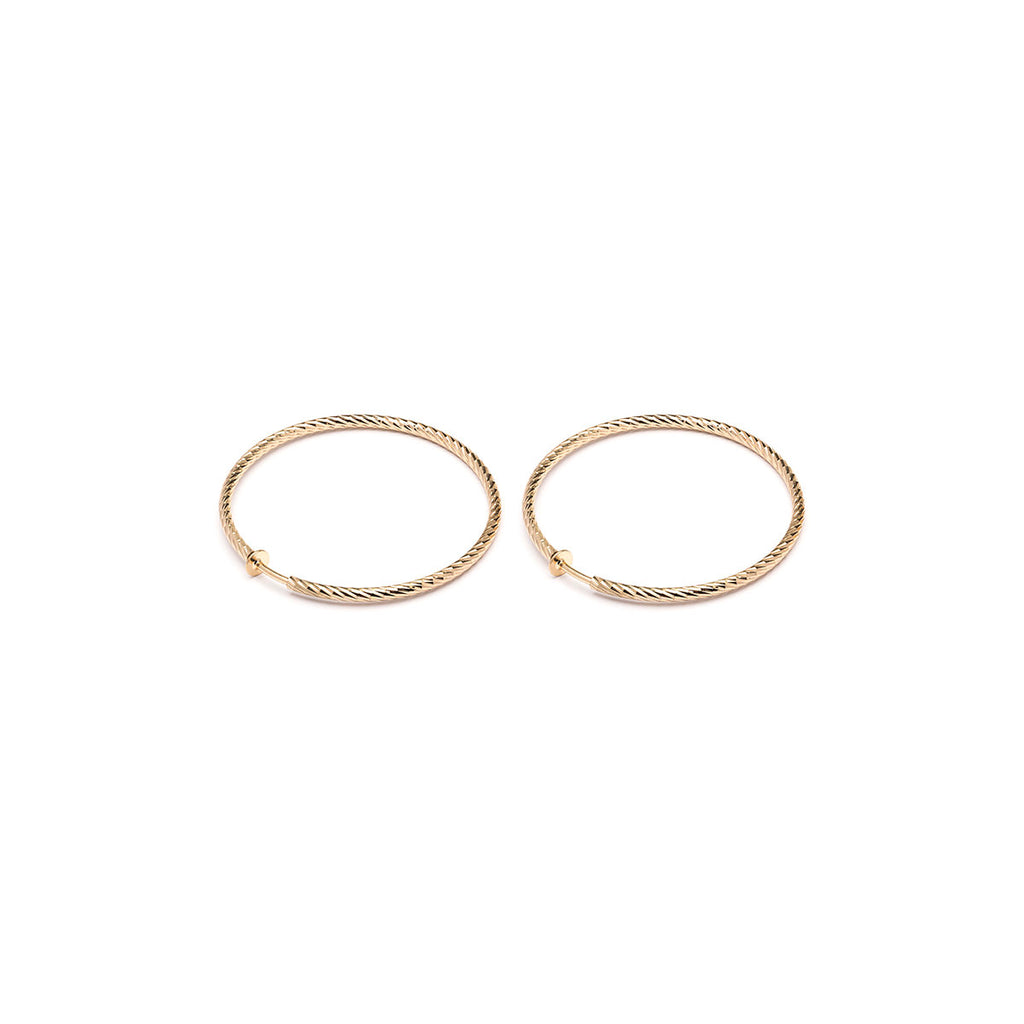 Gold Plated 2.5 inch Diamond Cut Spring Clip On Hoop Earrings - Simply Whispers