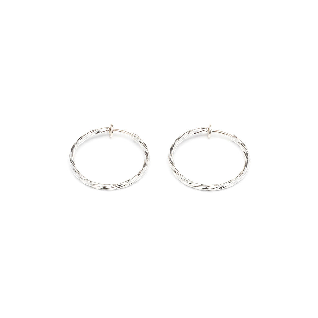 Silver Plated 1 inch Twist Spring Clip On Hoop Earrings - Simply Whispers