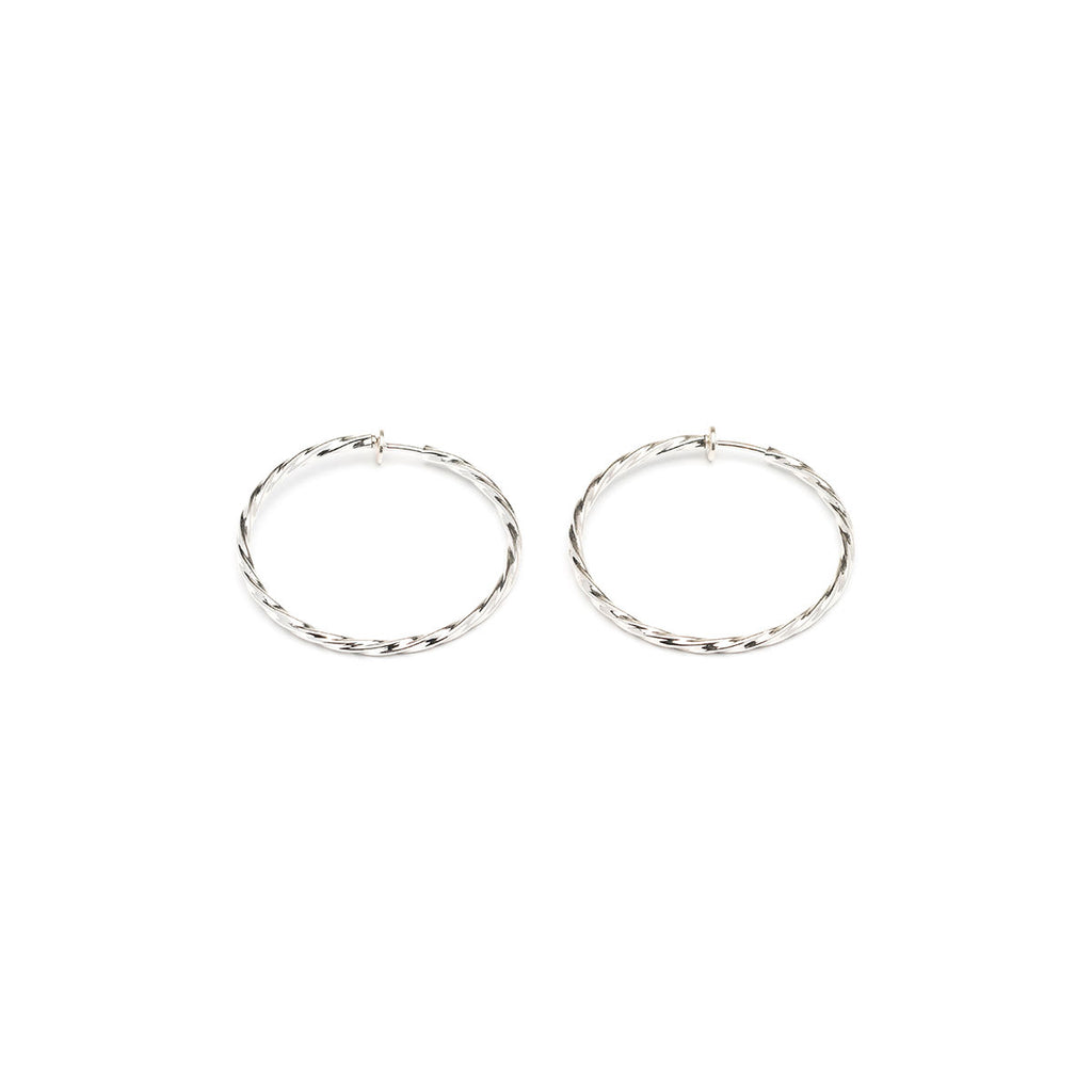 Silver Plated 1.5 inch Twist Spring Clip On Hoop Earrings - Simply Whispers