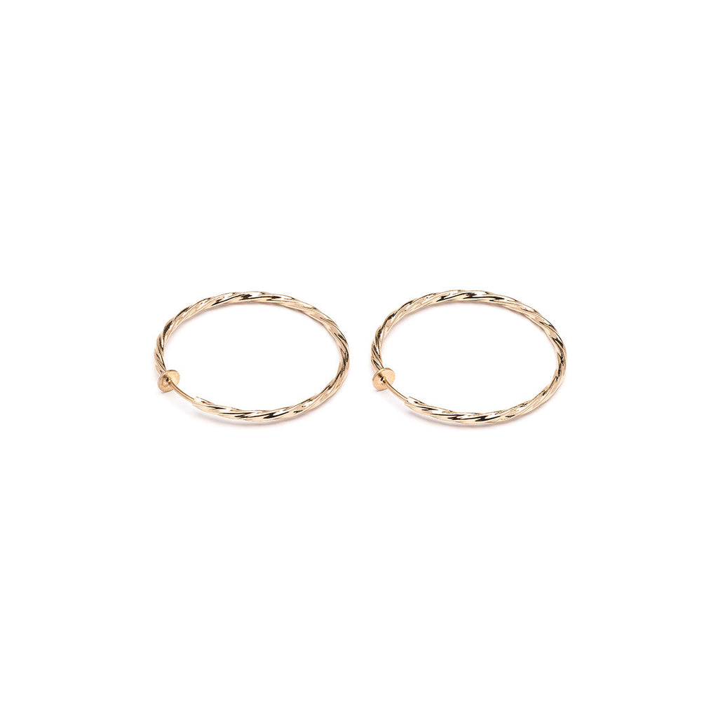 Gold Plated 1.5 inch Twist Spring Clip On Hoop Earrings - Simply Whispers