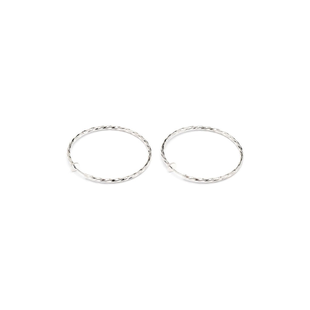 Silver Plated 2 inch Twist Spring Clip On Hoop Earrings - Simply Whispers