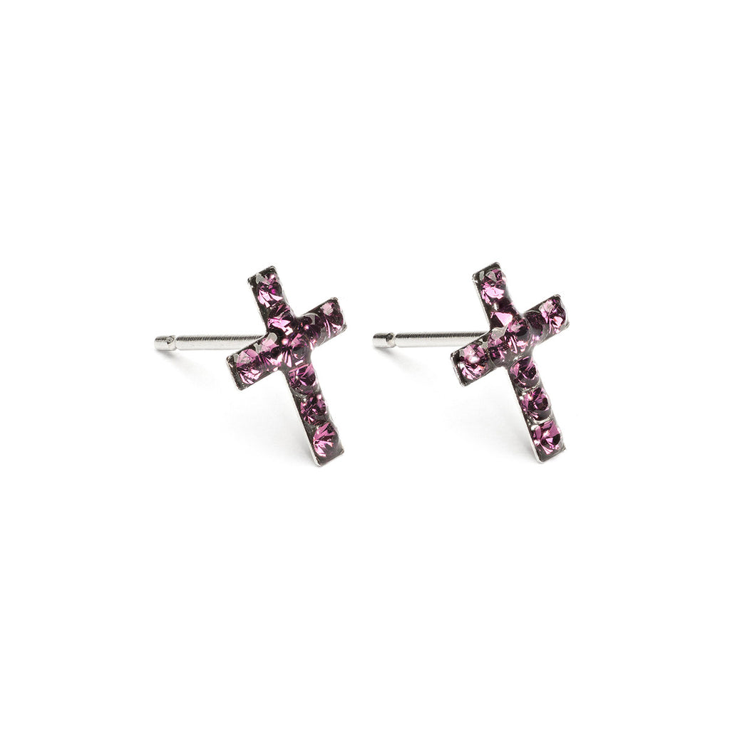 Stainless Steel Cross February Stud Earrings - Simply Whispers