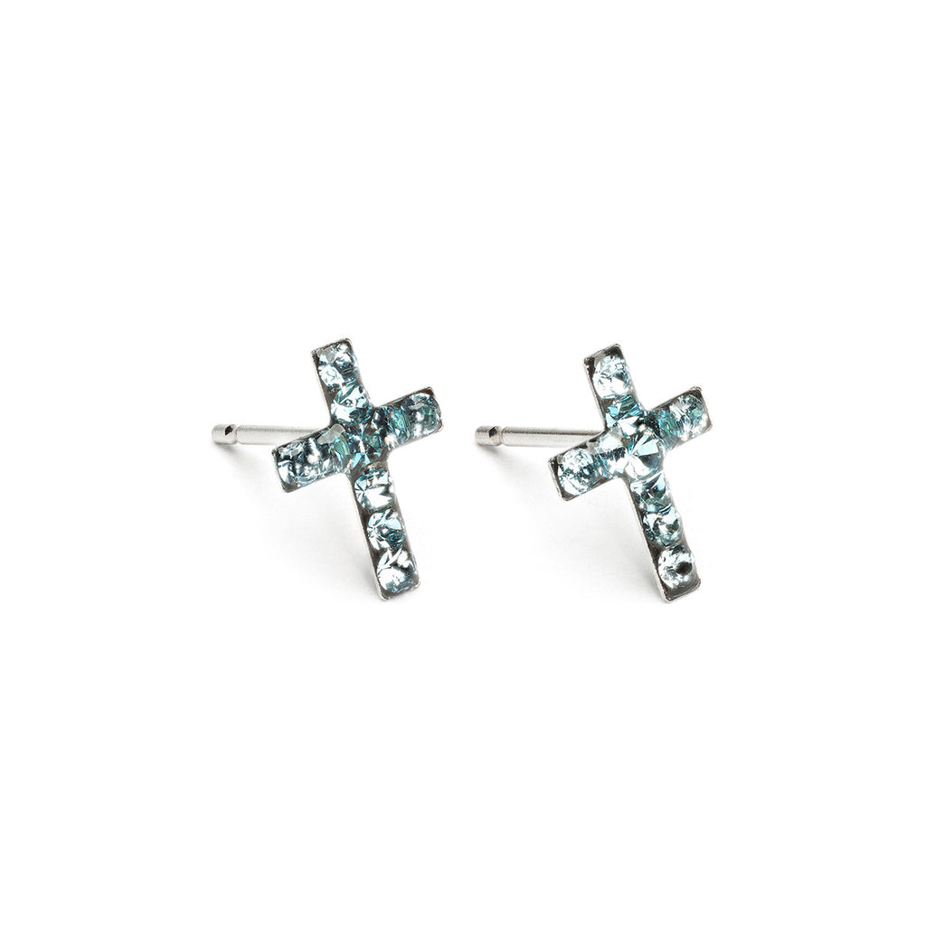 Stainless Steel Cross March Stud Earrings - Simply Whispers