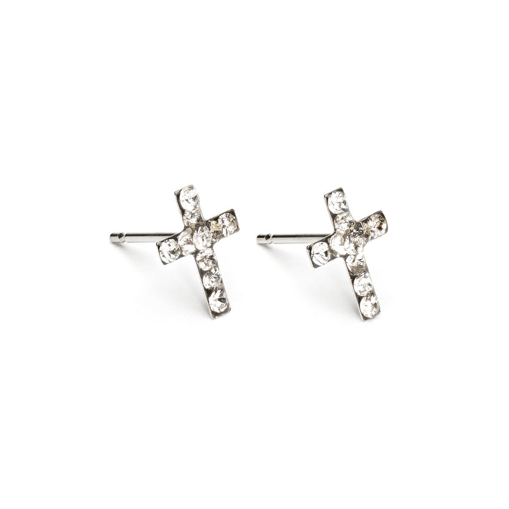 Stainless Steel Cross April Stud Earrings - Simply Whispers
