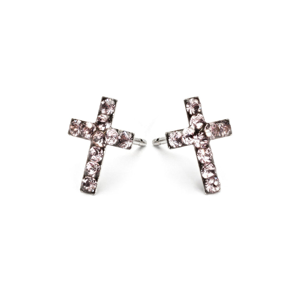 Stainless Steel Cross June Stud Earrings - Simply Whispers