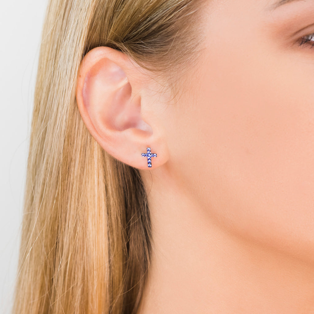 Stainless Steel Cross September Stud Earrings - Simply Whispers