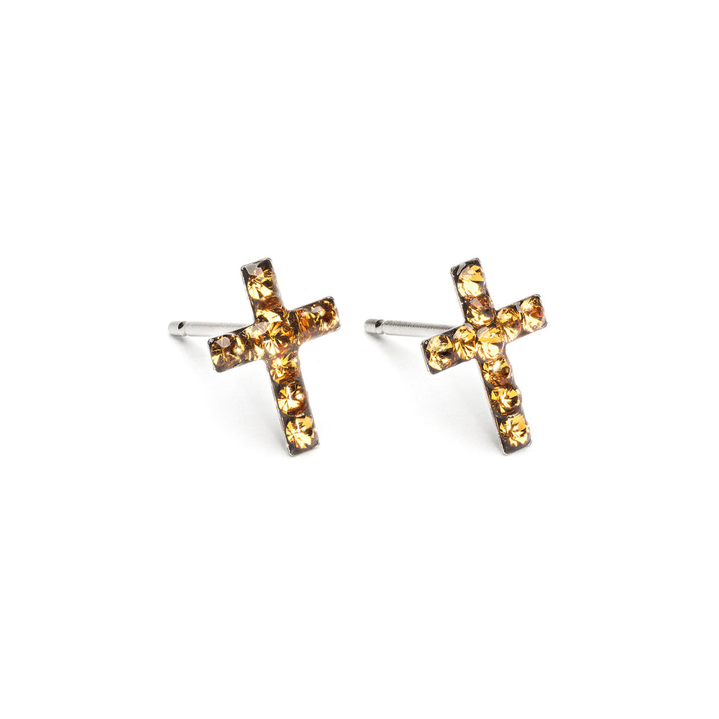 Stainless Steel Cross November Stud Earrings - Simply Whispers