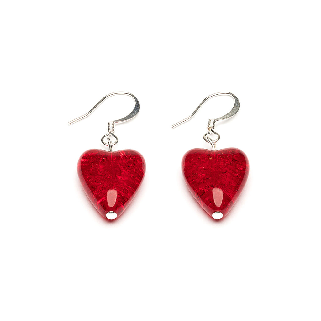 Silver Plated Red Crackle Glass Heart French Hook Earrings - Simply Whispers