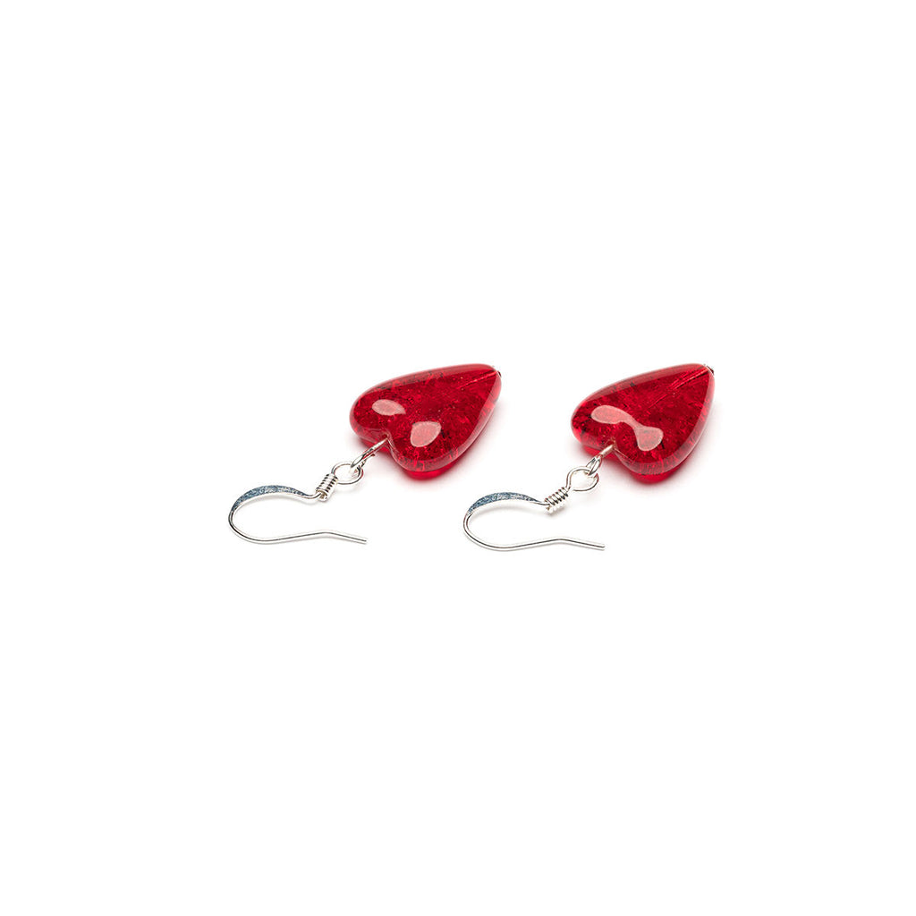 Red Crackle Glass Heart Earrings - Simply Whispers