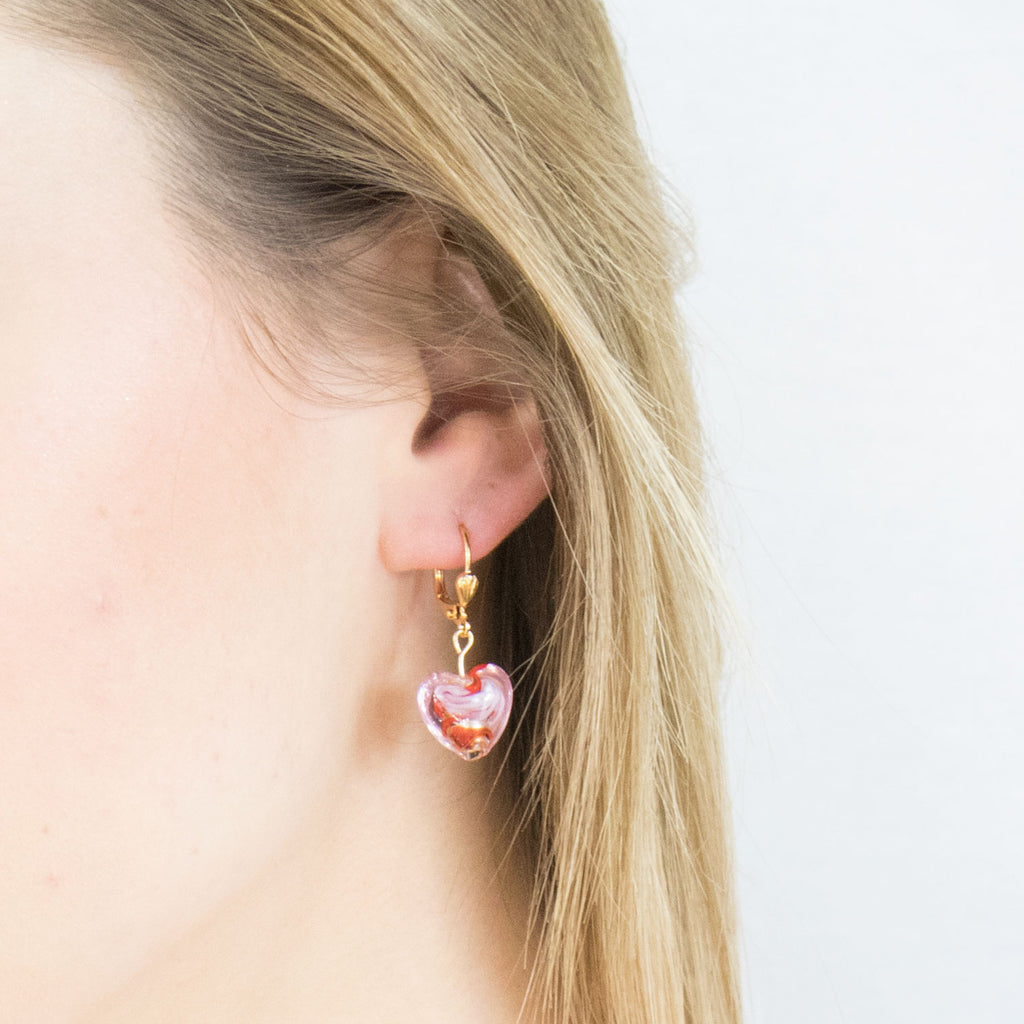 Gold Plated Pink And Red Glass Heart Leverback Earrings - Simply Whispers