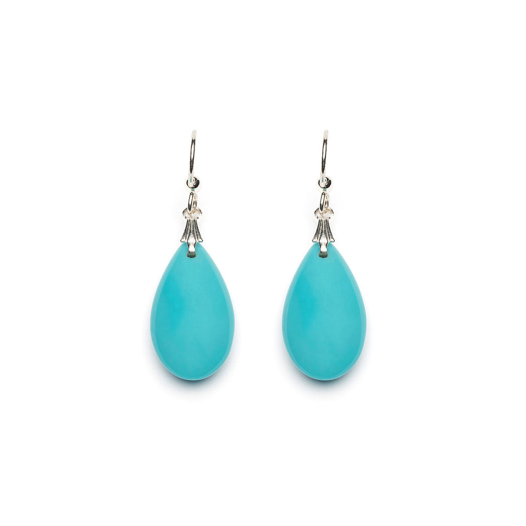 Silver Plated Turquoise Teardrop French Hook Earrings - Simply Whispers