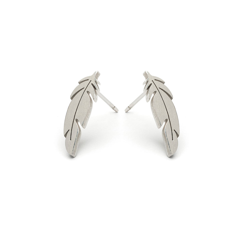 Stainless Steel Feather Stud Earrings - Simply Whispers