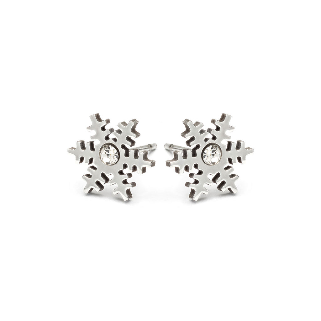 Stainless Steel Crystal Snowflake Stud Earrings - Simply Whispers