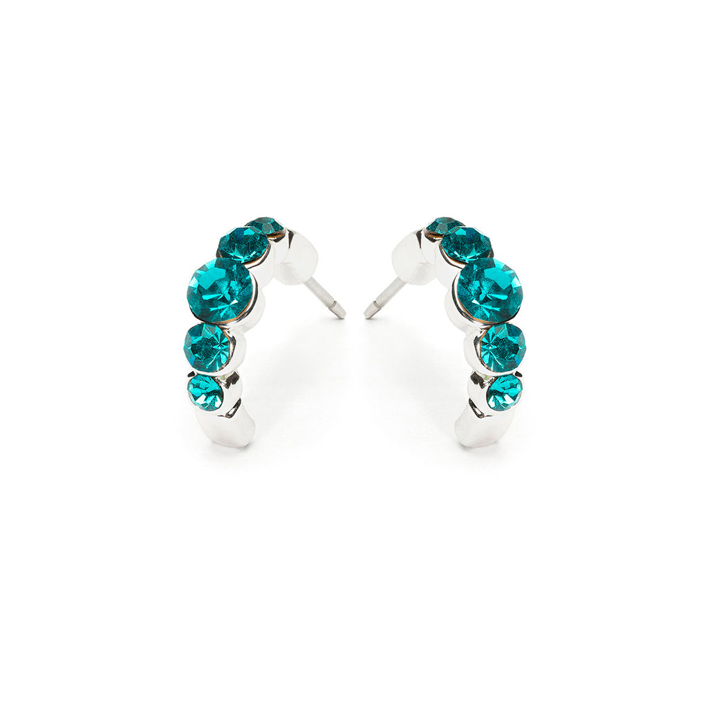 Silver Plated Crystal Turquoise Semi Hoop Earrings - Simply Whispers