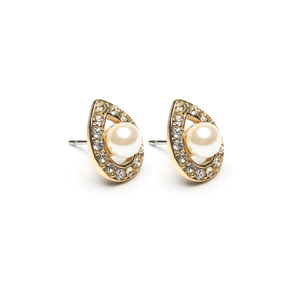 Gold Plated Teardrop Crystal With Pearl Stud Earrings - Simply Whispers