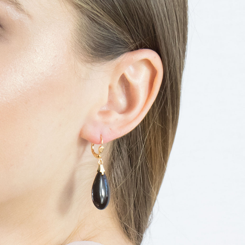 Gold Plated Black Drop Leverback Earrings - Simply Whispers