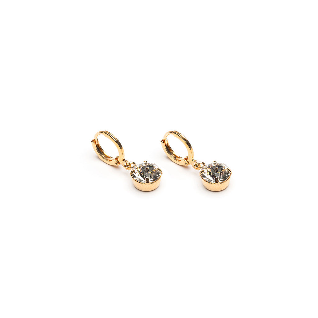 Simply Whispers Hypoallergenic Earrings: Gold Plated 8 Mm Crystal Leverback Earrings– Simply Whispers