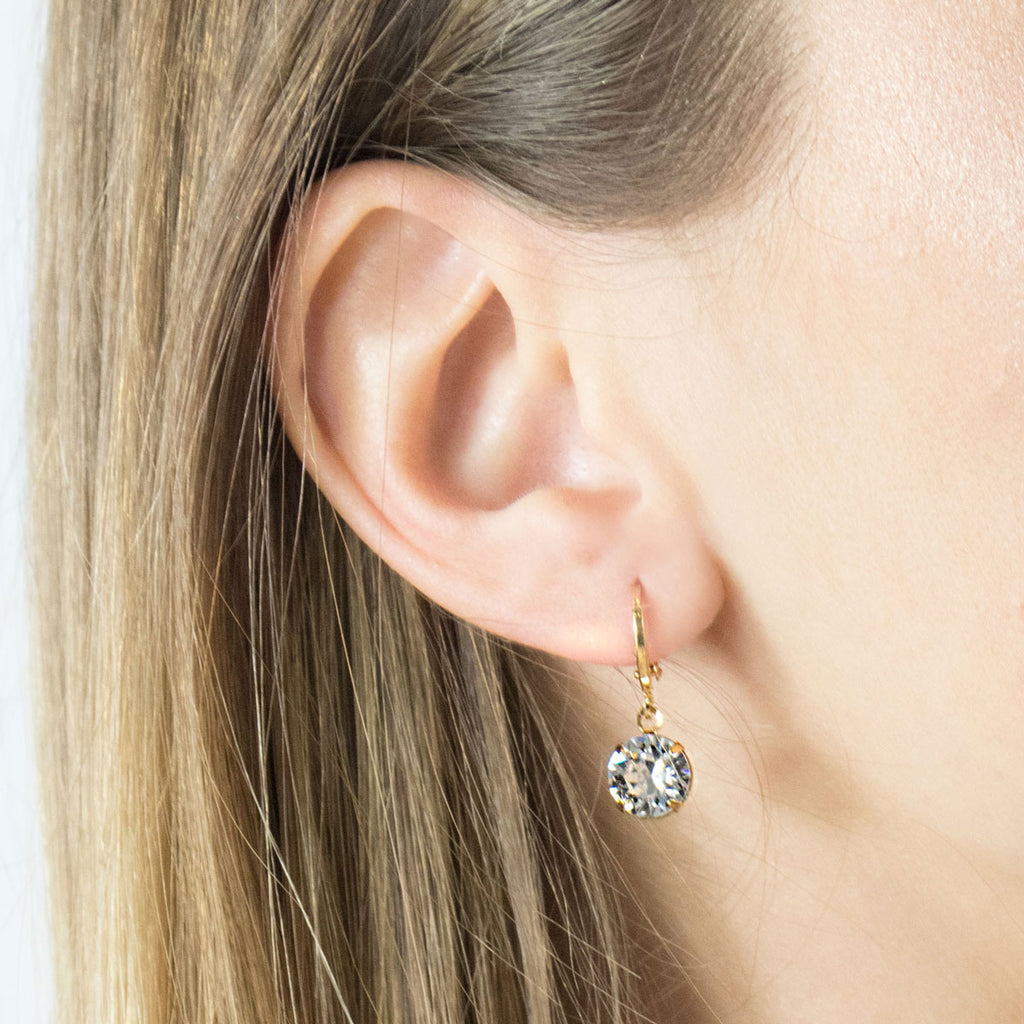 Gold Plated 8 mm Crystal Leverback Earrings - Simply Whispers