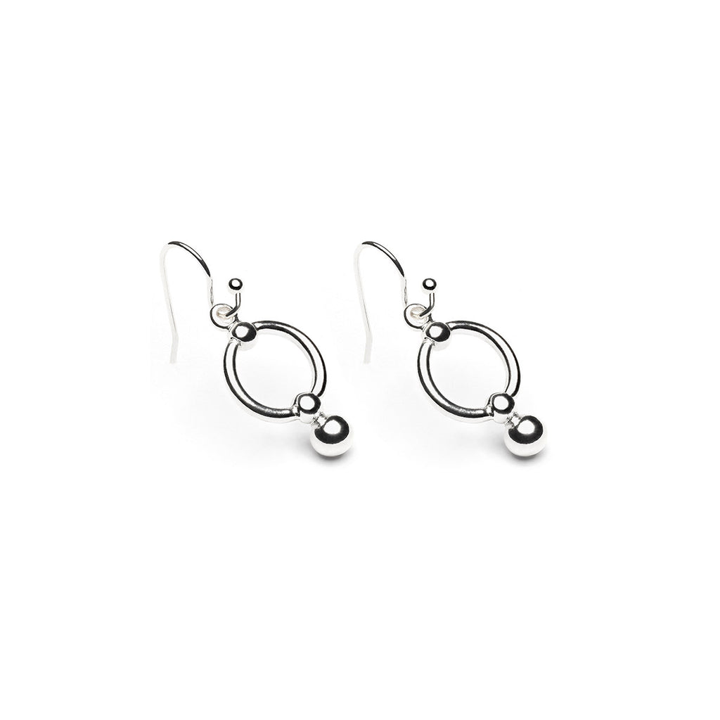 Silver Plated Round Ball Drop French Hook Earrings - Simply Whispers