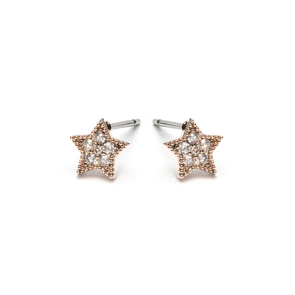 Rose Gold Plated Crystal Star Stud Earrings - Simply Whispers