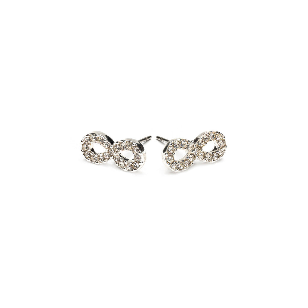 Silver Plated Infinity Stud Earrings - Simply Whispers