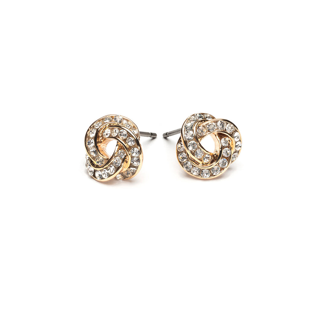Gold Plated Crystal Knot Stud Earrings - Simply Whispers