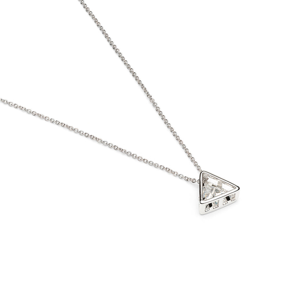 Silver Plated 16 inch With 8 mm Crystal Triangle Pendant Necklace - Simply Whispers