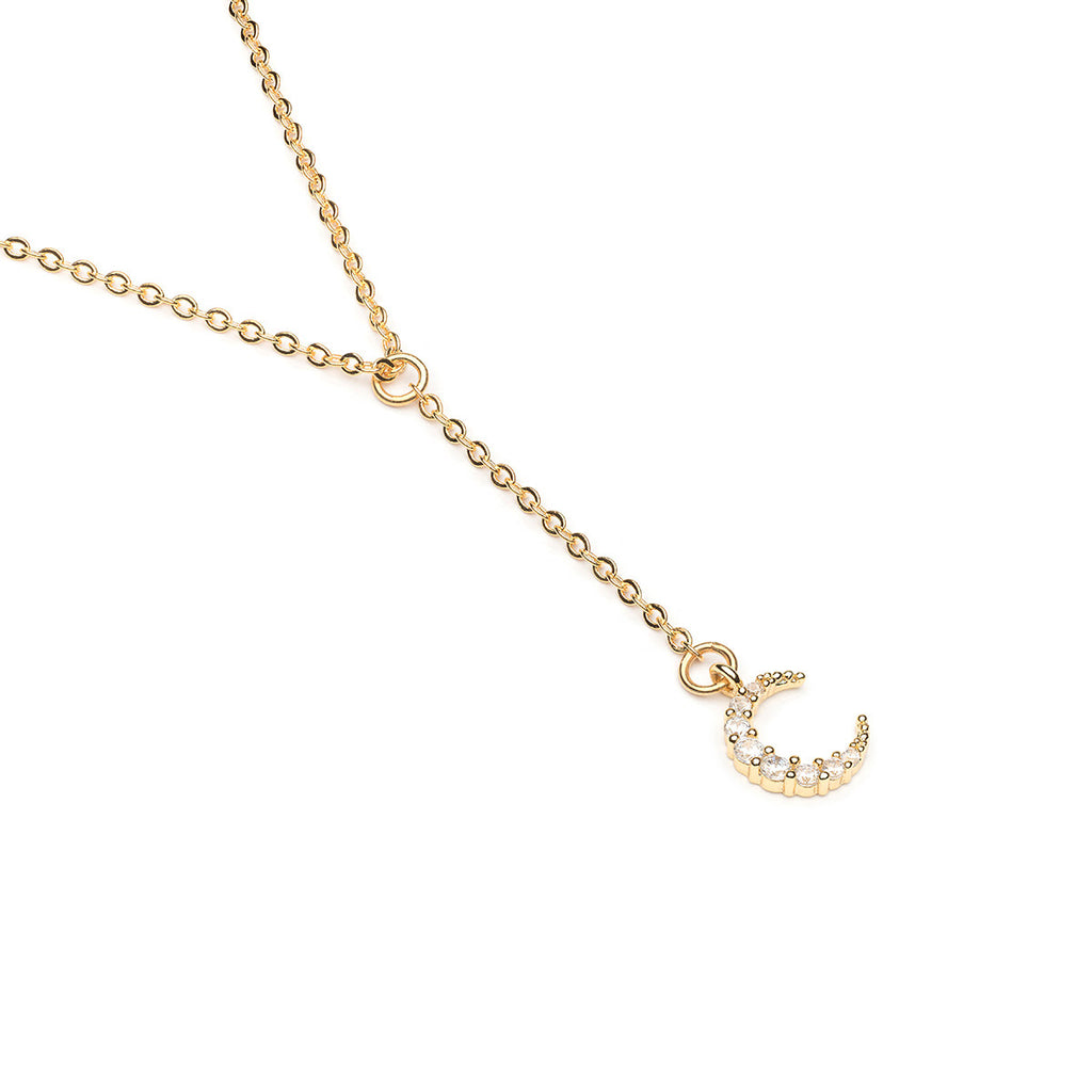 Gold Plated 16 inch Crescent Moon Pendant Necklace - Simply Whispers