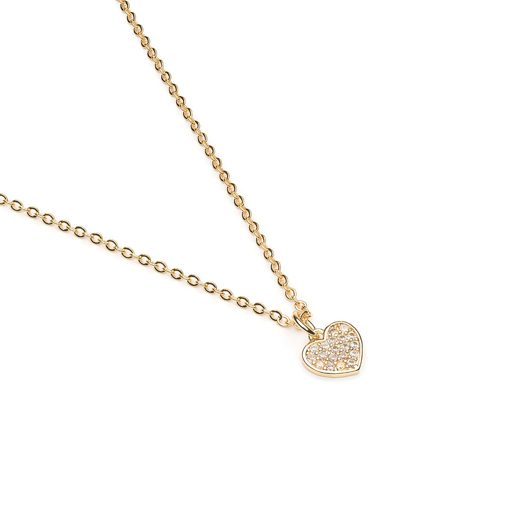 Gold Plated 16 inch Cubic Zirconia Heart Pendant Necklace - Simply Whispers