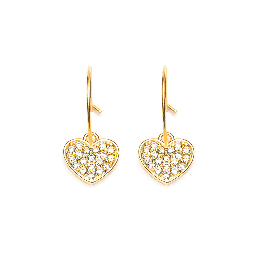 Gold Plated Cubic Zirconia Heart Hoop Earrings - Simply Whispers