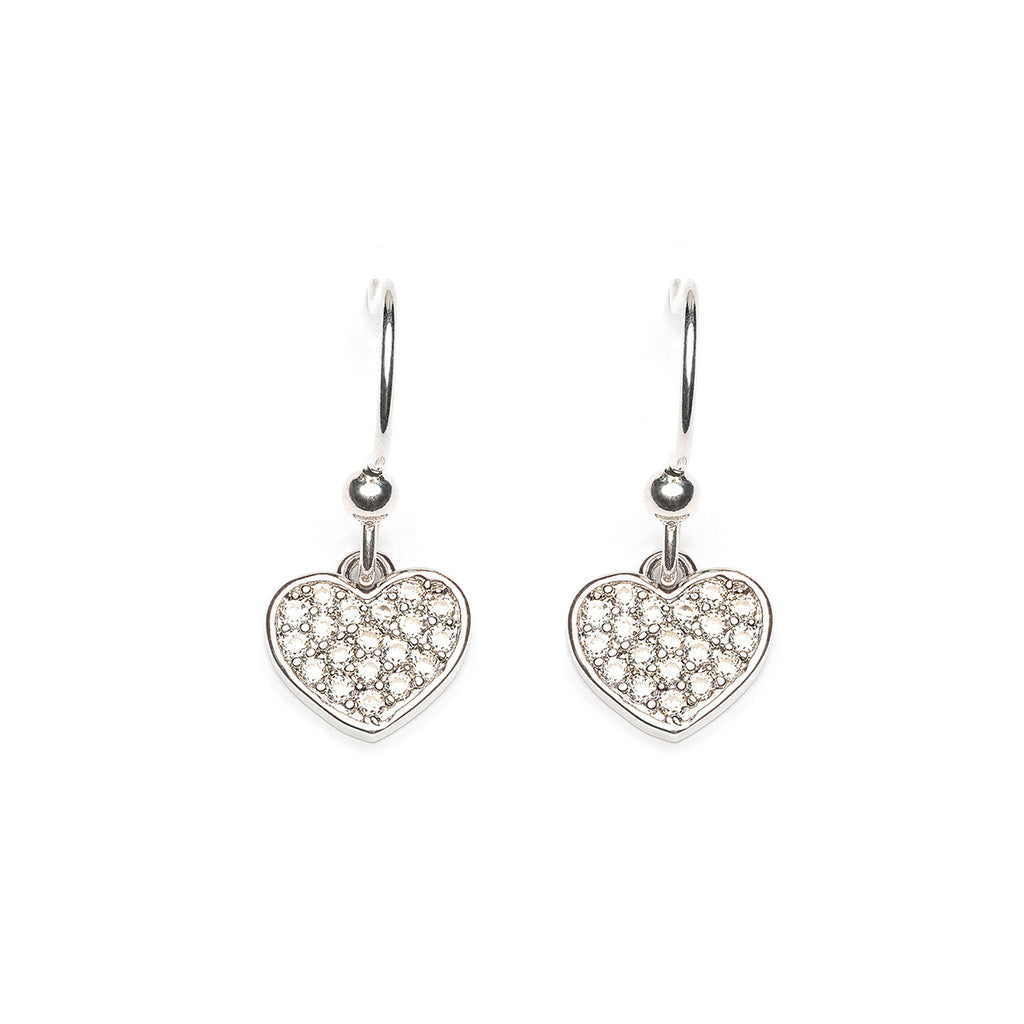 Silver Plated Cubic Zirconia Heart French Hook Earrings - Simply Whispers