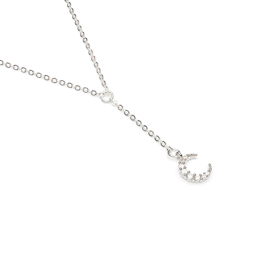 Silver Plated 16 inch Cubic Zirconia Crescent Moon Pendant Necklace - Simply Whispers