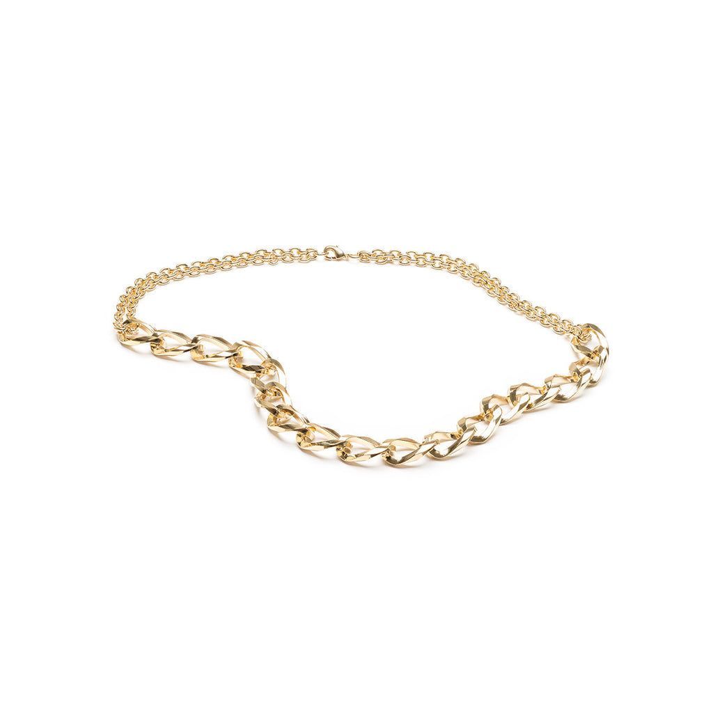 Double Curb Chain Necklace Gold Plated - Simply Whispers